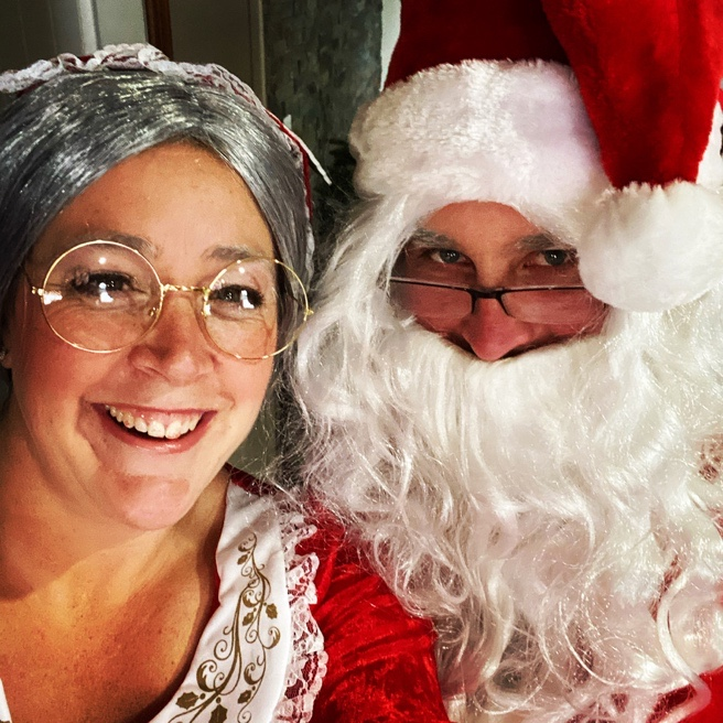 a women with santa